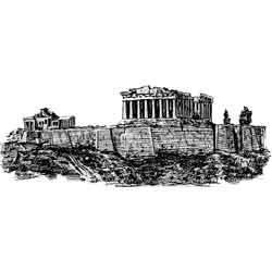 Афины — город, картинка чёрно-белая