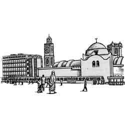 Алжир — город, картинка чёрно-белая