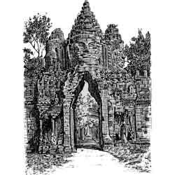 Ангкор — город, картинка чёрно-белая
