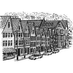 Берген — город, картинка чёрно-белая