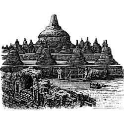 Боробудур — город, картинка чёрно-белая