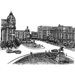 Бухарест — город, картинка чёрно-белая