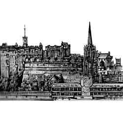 Эдинбург — город, картинка чёрно-белая