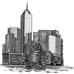Гонконг — город, картинка чёрно-белая