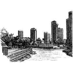 Куала-Лумпур — город, картинка чёрно-белая
