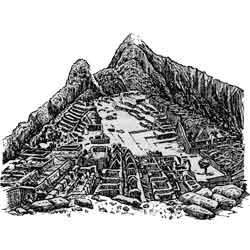 Куско — город, картинка чёрно-белая