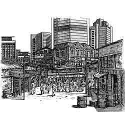 Лагос — город, картинка чёрно-белая