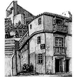 Лиссабон — город, картинка чёрно-белая