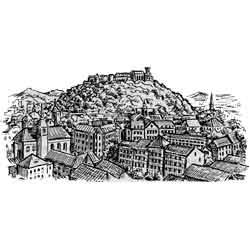 Любляна — город, картинка чёрно-белая