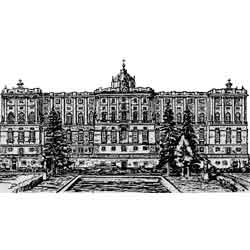 Мадрид — город, картинка чёрно-белая