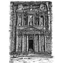 Петра — город, картинка чёрно-белая
