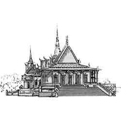 Пномпень — город, картинка чёрно-белая