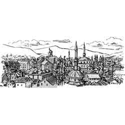 Сараево — город, картинка чёрно-белая