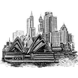 Сидней — город, картинка чёрно-белая