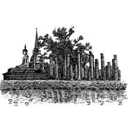 Сукотай — город, картинка чёрно-белая