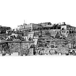 Валлетта — город, картинка чёрно-белая