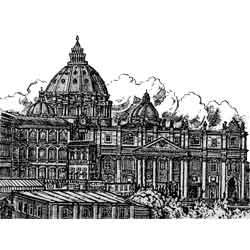 Ватикан — город, картинка чёрно-белая