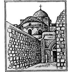 Храм Гроба Господня — познавательно, картинка чёрно-белая