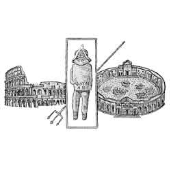 Колизей — познавательно, картинка чёрно-белая