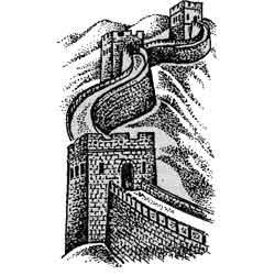 Великая Китайская Стена — познавательно, картинка чёрно-белая