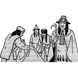 Индейский потлач — праздник, картинка чёрно-белая