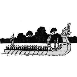 Праздник лодок-драконов — праздник, картинка чёрно-белая