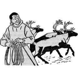 Праздник оленеводов — праздник, картинка чёрно-белая