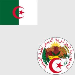 Алжир — флаг и герб страны, картинка цветная