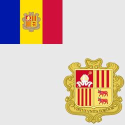 Андорра — флаг и герб страны, картинка цветная