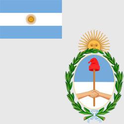 Аргентина — флаг и герб страны, картинка цветная