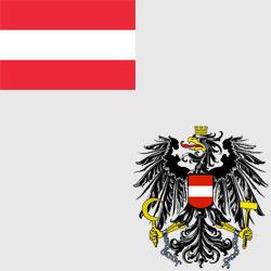 Австрия — флаг и герб страны, картинка цветная