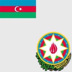 Азербайджан — флаг и герб страны, картинка цветная