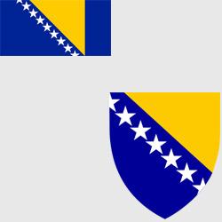 Босния (Босния и Герцеговина) — флаг и герб страны, картинка цветная