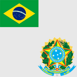 Бразилия — флаг и герб страны, картинка цветная