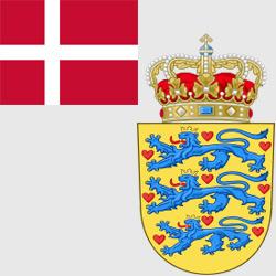 Дания — флаг и герб страны, картинка цветная