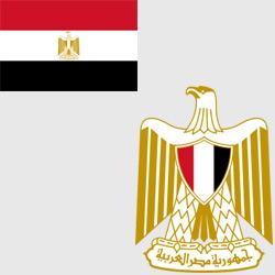 Египет — флаг и герб страны, картинка цветная
