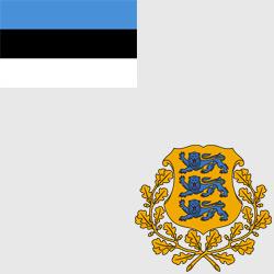 Эстония — флаг и герб страны, картинка цветная