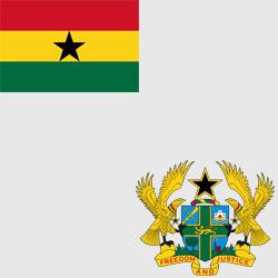 Гана — флаг и герб страны, картинка цветная