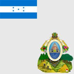 Гондурас — флаг и герб страны, картинка цветная