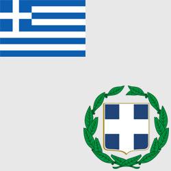 Греция — флаг и герб страны, картинка цветная