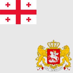 Грузия — флаг и герб страны, картинка цветная