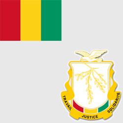 Гвинея — флаг и герб страны, картинка цветная