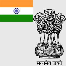 Индия — флаг и герб страны, картинка цветная