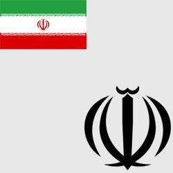 Иран — флаг и герб страны, картинка цветная