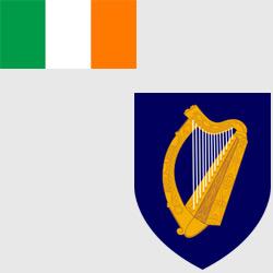 Ирландия — флаг и герб страны, картинка цветная