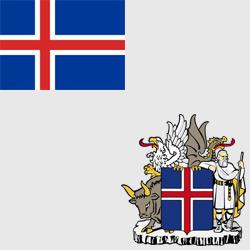 Исландия — флаг и герб страны, картинка цветная