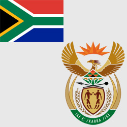 ЮАР — флаг и герб страны, картинка цветная