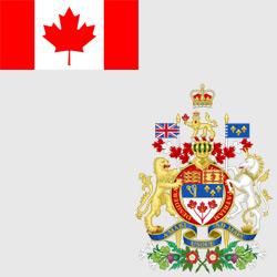 Канада — флаг и герб страны, картинка цветная