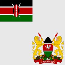 Кения — флаг и герб страны, картинка цветная