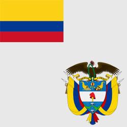 Колумбия — флаг и герб страны, картинка цветная